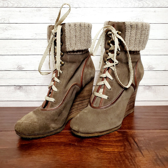 Chloé Brown Suede Lace Up Wedge Ankle Boots
